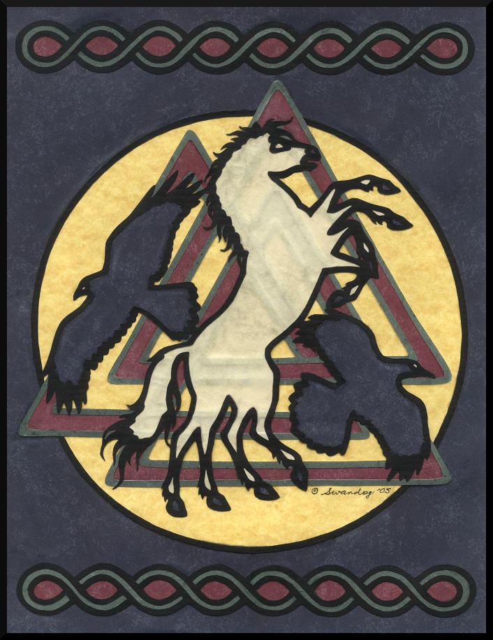 Odin's Servants papercutting by swandog