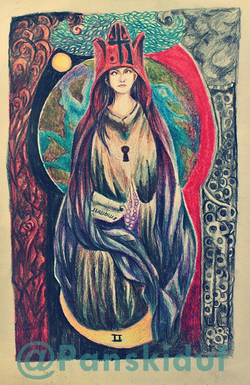 (Making my own Tarot) HIGH PRIESTESS by panskiduf
