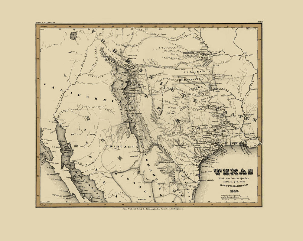 Old Map of Texas by CohenR