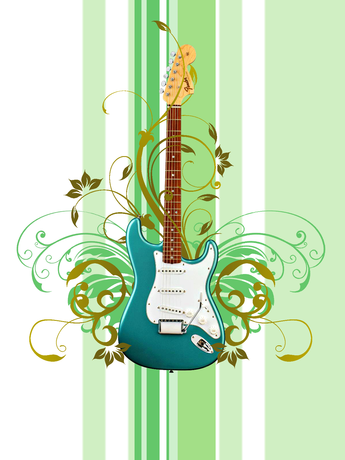 guitar floral vector