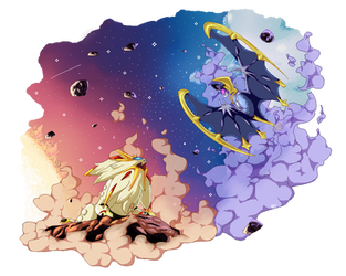 Solgaleo and Lunala by tekochan