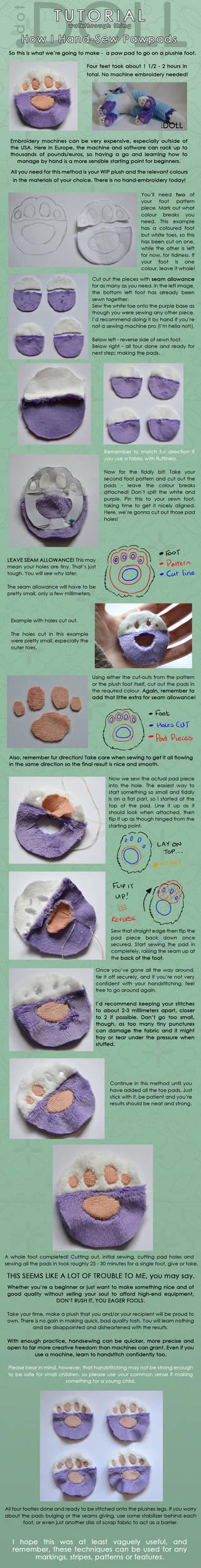 How I hand-stitch Paw Pads