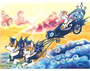 Luna's Corgi Chariot by CatScratchPaper