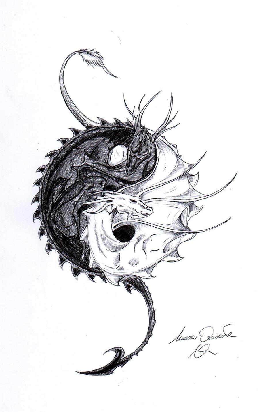 знаком с янь дракона инь эскизы тату