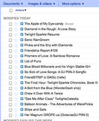 Twilight Sparkle's Google Docs