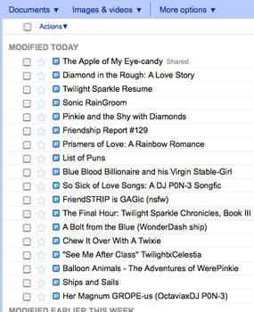 Twilight Sparkle's Google Docs