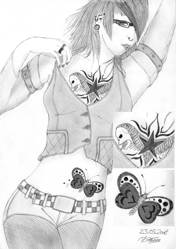 Chest Piece and Butterfly - chest tattoo