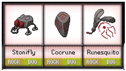 #58 - #60 Stonifly / Cocrune / Runesquito