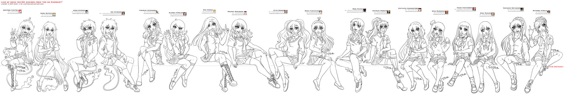 Line of some fem-OC exwires from AnE part2 by Lucithea