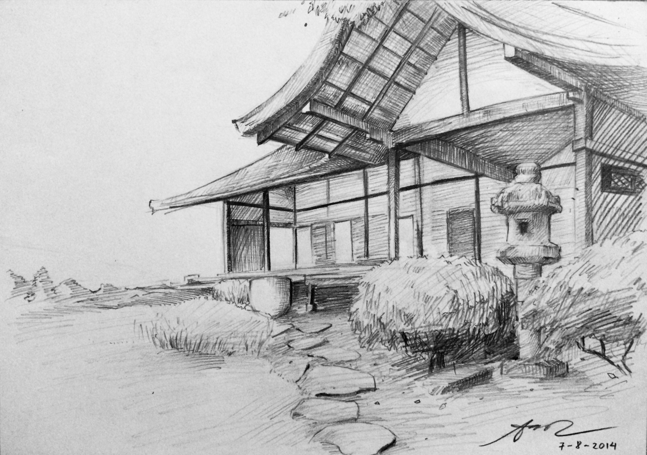 Traditional japanese house sketch by aoicancerius on for Drawings of a house