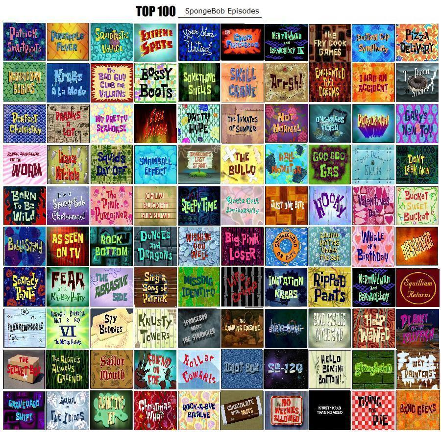 Top 100 Spongebob Episodes by Carvenamber on DeviantArt