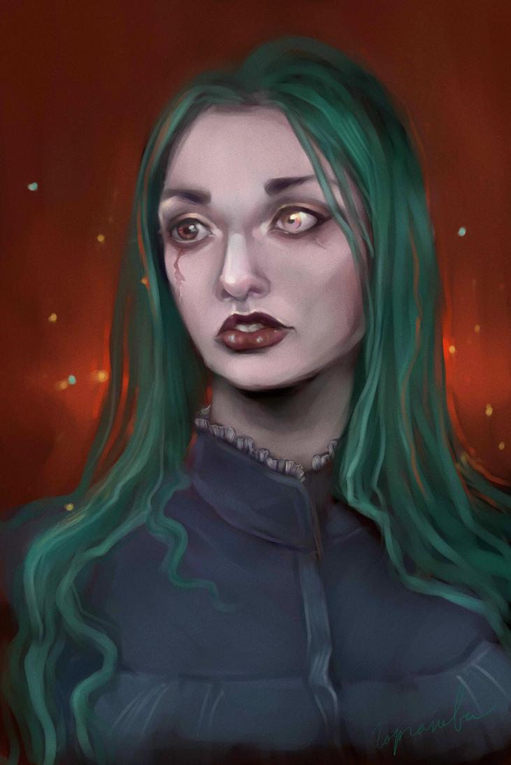 girl with sad eyes by Sdoba