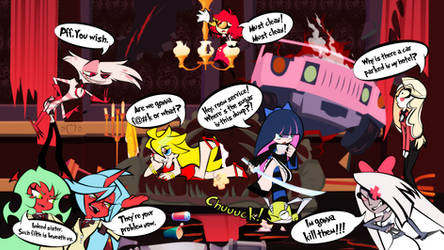 Panty and Stocking check in Hazbin Hotel