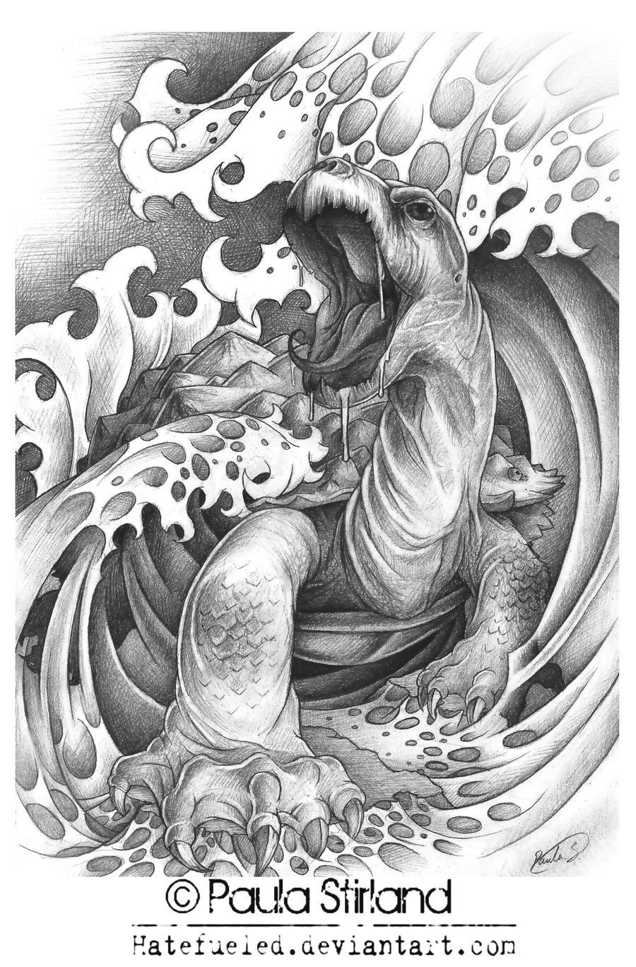 Giant man eating turtle by hatefueled on deviantart - Dessin dragon japonais ...
