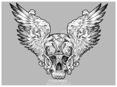 Winged Skull Design by hatefueled