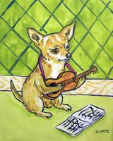 Chihuahua Playing guitar by jSchmetz