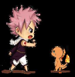 :Chibi: Natsu with charmander by Bludy-chu