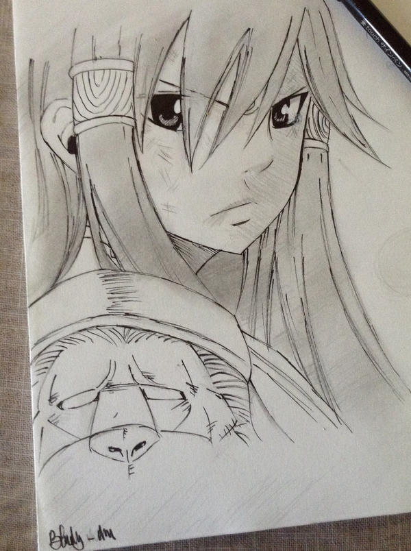 Erza-traditional sketchy by Bludy-chu