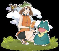 May and her Pokemon by captkuro