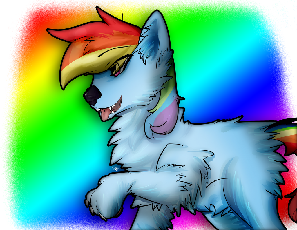 Rainbow Wolf By Ana-Vanexitax On DeviantArt