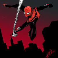 Spider-Man Red Sky by hawkdraws