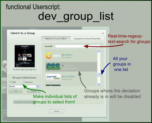 Dev Group List by Dediggefedde