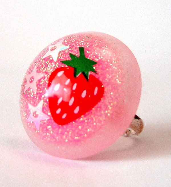 Pink strawberry ring by BazaarHereToday
