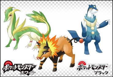 Pokemon GenV Starters by LuupY
