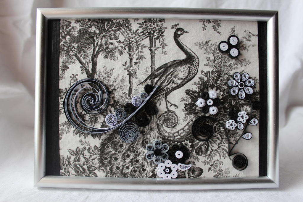 Quilled painting black and white peacock by cireshika