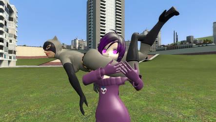 Gmod - Catwoman vs Zone Tan (Headscissors) 1 by delta-28