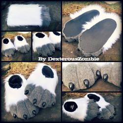 Kurousagi feetpaws and legsleeves commission by DexterousZombie