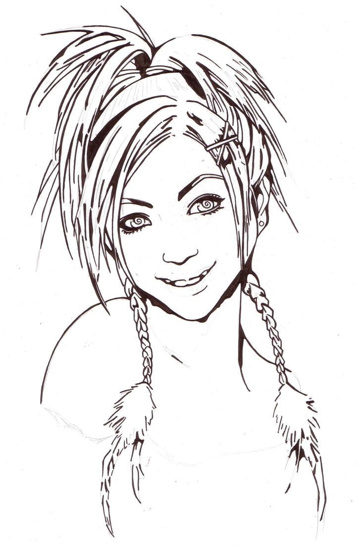 Line Drawing Net : Rikku line art by thestickibear on deviantart