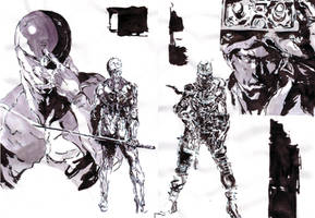 Gray Fox and Solid Snake Yoji Shinakwa
