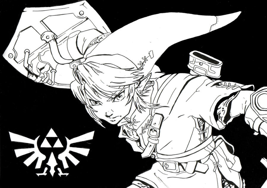 Line Art Zelda : Link line art by thestickibear on deviantart