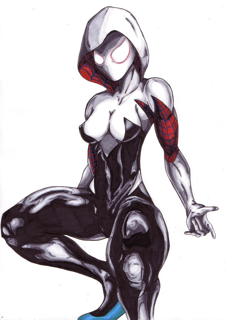 More Spider-Gwen/Spiderwoman copic practice by Thestickibear