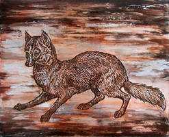 Embossed metal fox, 8 x 10