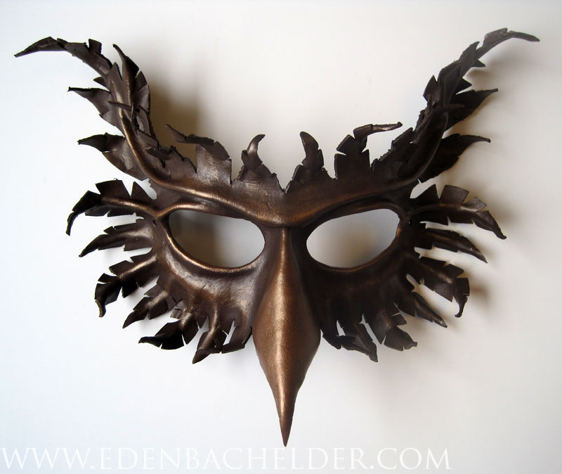 Gryphon leather mask, dark brown and bronze by shmeeden