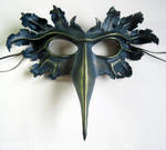 Blue and green-gold leather bird mask