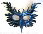 Gryphon leather mask, midnight and metallic blue