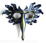 Bird mask, metallic lavender and green-gold
