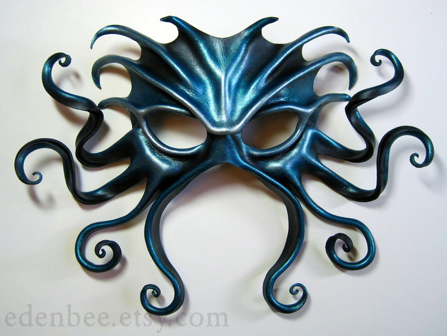 Large Cthulhu Mask, black, turquoise and silver by shmeeden