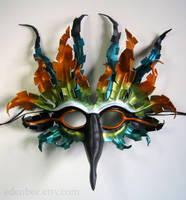Fantasy Tropical Bird leather mask by shmeeden