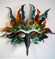 Fantasy Tropical Bird leather mask by shmeeden