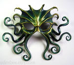 Large Cthulhu mask, green, gold, and midnight blue