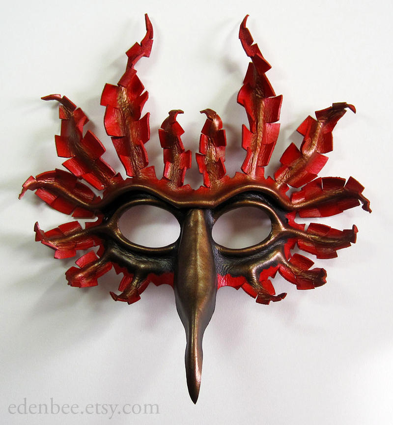 Fantasy Cardinal leather bird mask by shmeeden