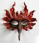 Fantasy Cardinal leather bird mask