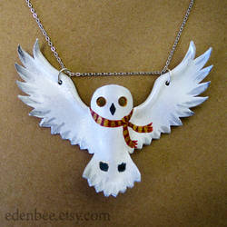Hedwig + Gryffindor Scarf leather pendant necklace