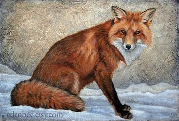 Fox in Snow, acrylic on canvas by shmeeden