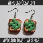Avocado Toast Earrings (Polymer Clay)