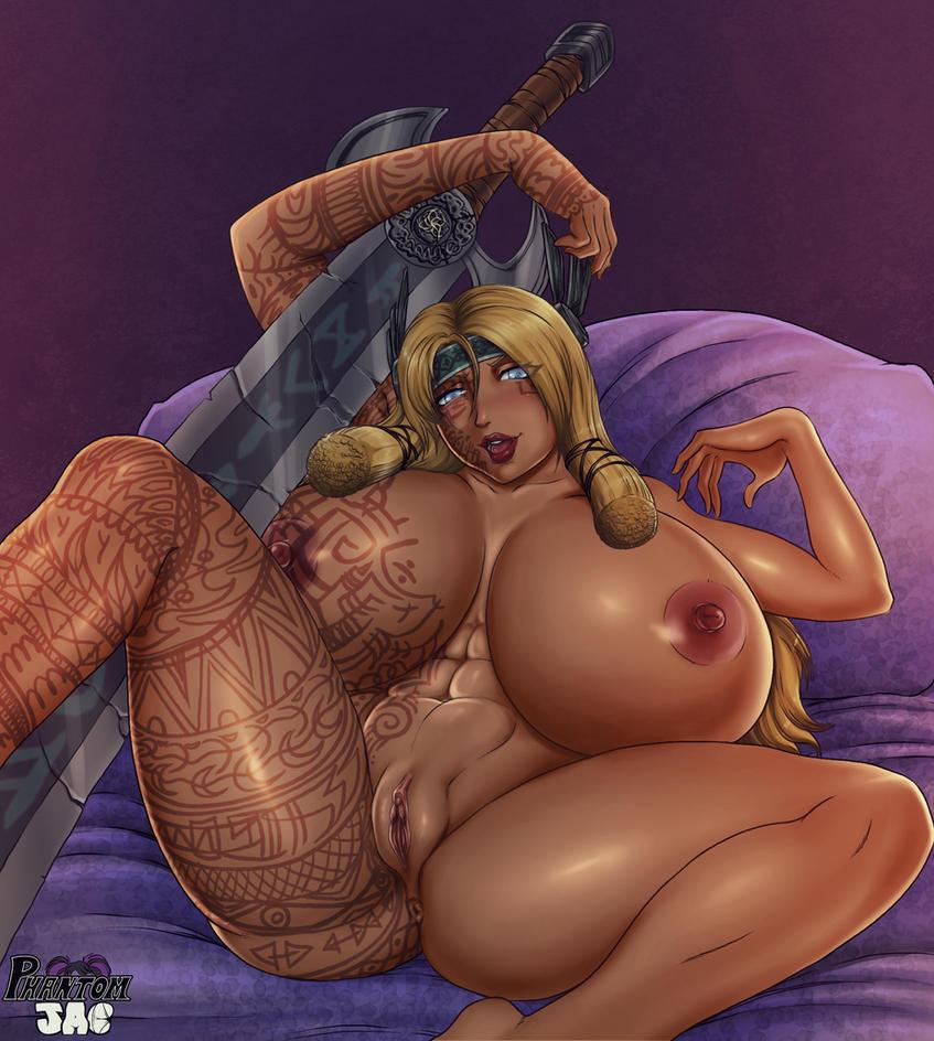 Freya is lewd - Nude version by PhantomJAC